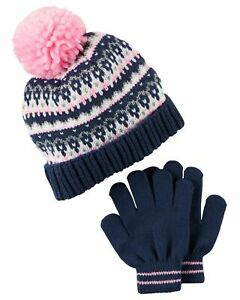 Carter's Girls' Hat & Glove Set Size: 12-24, 2-4, 4-8 Blue Pink Gray Heart