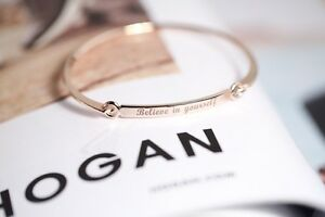 Women Style Silver Colour BELIEVE IN YOURSELF Bracelet Jewelry Charm Cuff Bangle