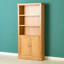 Hampshire Oak Bookcase with Cupboard / Light Oak Solid Wood Display Shelving
