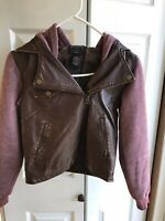 Women's Stussy Brown Leather like Full Zip Jacket Hoodie Long Sleeve Size XS