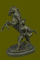 Wild Western Metal Art Cowboy Bronze Statue Horse Sculpture Old Man Figure Decor