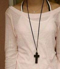 Brown Wooden Cross & Black Cord Necklace - Crucifix Christian Jesus Jewellery