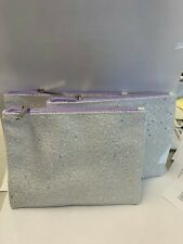 Lot of 3 Clinique Skincare Makeup Travel Small Pouch Bag Glitter White