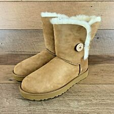 NEW UGG WOMEN'S BAILEY BUTTON CHESTNUT LEATHER BOOTS 5803 SIZE 10 US SELLER