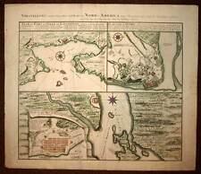 CARTE ORIGINALE ANCIENNE DU CANADA QUEBEC LOUISBOURG HALIFAX par HOMANN 1790