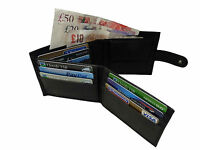 Mens Mans Gents Soft Plain Black Leather Wallet Credit Card Holders Wallets R374