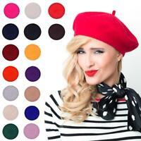 Béret de fille couleur unie artiste français chaud laine bonnet d'hiver bonnet