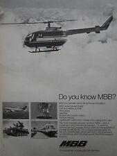 9/1974 PUB MBB BO 105 AIRBUS A300 HELIOS SATELLITE ET 403 TRAIN ROLAND AD