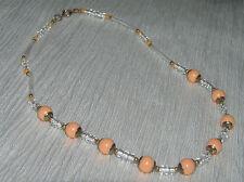 Vintage Tangerine & Clear Plastic Barrel & Round Bead Necklace – goldtone findin