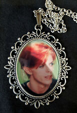 David Bowie Orange Hair Large Antique Silver Pendant Necklace Music Icon 1970s