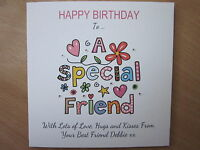 Personalised Handmade Birthday Card - Special Friend - 30th, 40th, 50th, Any Age
