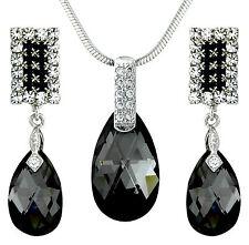 14K Swarovski Elements Black White Jewellery Set Earrings & Necklace Tear Drops.