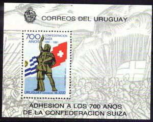 URUGUAY 1991 SWITZERLAND 700° ANIV ,FLAGS, S/SHEET Yv 40 Mi 55 MNH