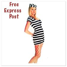 Women's Convict Costume Jail Jumpsuit  Black White Stripe Prisoner Costume