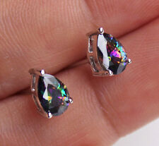 18K White Gold Filled - Waterdrop MYSTICAL Rainbow Topaz Women Cocktail Earrings