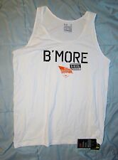 UNDER ARMOUR BALTIMORE MARYLAND B'MORE WHITE CHARGED COTTON TANK TOP SHIRT XL !!