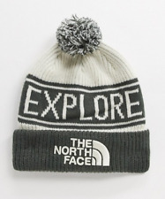 The North Face Retro Pom Winter Beanie in Vintager White - One Size