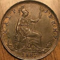 1887 GREAT BRITAIN VICTORIA HALF PENNY COIN - Fantastic example!