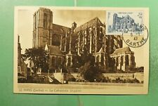 DR WHO 1947 FRANCE LE MANS CATHEDRAL MAXIMUM CARD SEMI POST  g19472