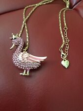 Large Betsey Johnson Pink Duck Pendant