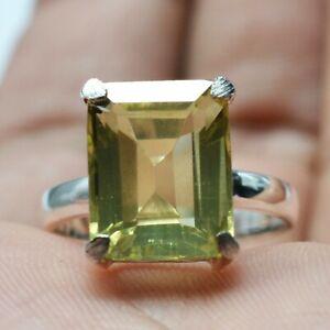 Lemon Quartz Double Gemstone Ring Size 8, 925 Sterling Silver