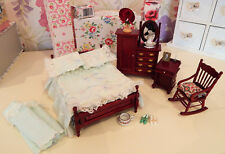 12th Scale Dolls House Ladies Boudoir Bed Dresser Desk Shoes Hat Chair Jug etc..