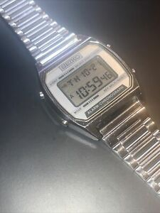 Vintage SEIKO A904-5199 A2 Mens Silver Digital Quartz LCD Watch Works! New Batt!