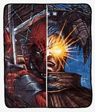 """Marvel Cable and Deadpool Plush Cozy Throw Blanket 50"""" X 60"""" New With Tags!"""