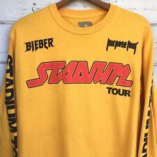 B Team Justin Bieber Stadium Purpose Tour unisex T-Shirt Concert sz M L/S Yellow