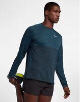 Nike Dri-Fit Knit Medalist Long Sleeve Running Top Shirt Blue Force DRY Medium