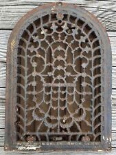 OLD VTG ANTIQUE CAST IRON STAR ARCHED DOME TOP HEAT GRATE WALL REGISTER VENT