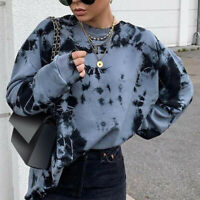 Womens Hoodies Loose Tie-dye Pullover Sweatshirts Ladies Casual Jumper Tops