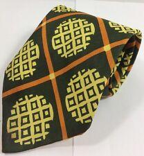 Men's Tie Dark Army Green Orange Pineapple Wide Necktie Vtg 57 Inch Length 4Wide