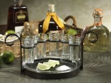 Tequila Shot Glass Set Serving Tray Unique Bar-ware Wedding Gift Ideas 7 Pieces