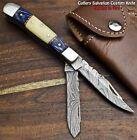 Custom Handmade Damascus Steel Dual Blade Pocket Folding Knife   CAMEL BONE