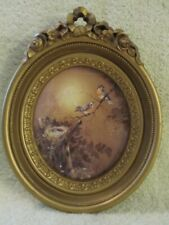 "Vtg. Homco Ornate Gold-Tone Oval Resin Picture Frame, 9X7"" Nesting Birds"