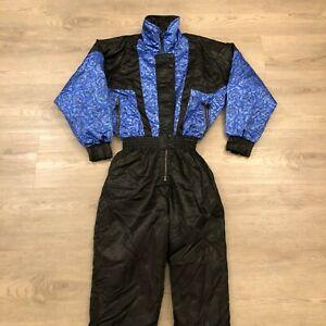 Vintage Edelweiss Ladies Size 10 Blue Black Floral One Piece Ski Snow Suit