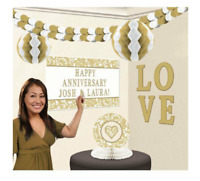 Happy Anniversary Wedding Party Decorations Gold Table Decoration Personalised