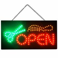 Boshen Bright Led Neon Light Open Barbershop Scissor Hair Animated Business Sign