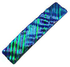 "Dichroic Hair Barrette 2.5"" 65mm SMALL Emerald Green Fused Glass Ripple Wavy"