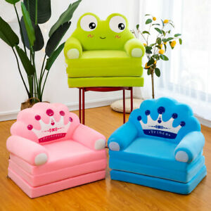 Foldable Sofa Bed for Kids Three Layers Cartoon Crown Seat Child Cushion Chair