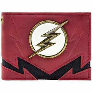 NEW OFFICIAL FLASH THE FASTEST MAN ALIVE GOLD BADGE RED ID & CARD BI-FOLD WALLET