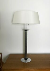 Vintage Silver / Gun Metal Trim Karl Springer Table Lamp, Unsigned