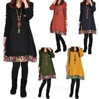 tata Floral Trim loose Top womens casual slouch Long Sleeve T Shirt Dress Size