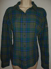 Columbia Blouse Omni-Shade Top M 12 Shirt Sun Protection Blue Green Plaid 6s37