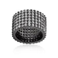 Black Hematite Round Pave Set Wide Row CZ Eternity Cocktail Ring Band Size 5-10