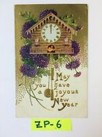 May You Have A Joyous New Year Bird House Flower Embossed Vintage Postcard ZP-6