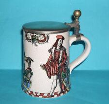 Vintage Art Pottery Attractive Pewter Lid - Raku Style - Medieval Design Stein.