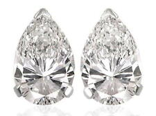 Diamond Solitaire Studs: 1ct Certified D IF VG Pear Shape Diamonds in Platinum