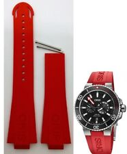 ORIS  749 7734 Regulateur Der Meistertaucher RED RUBBER band strap  4 24 66NB